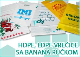 HDPE, LDPE vreća sa banana ručkom